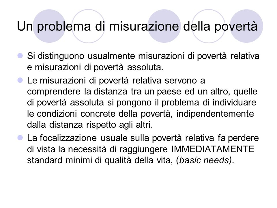 Un problema di misurazione della povertà