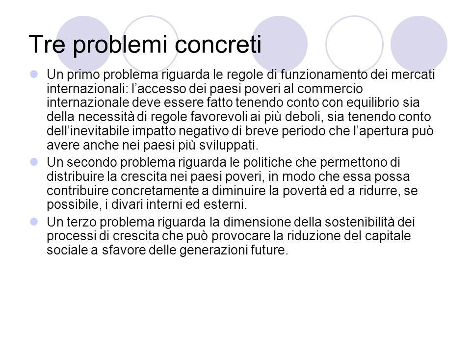 Tre problemi concreti