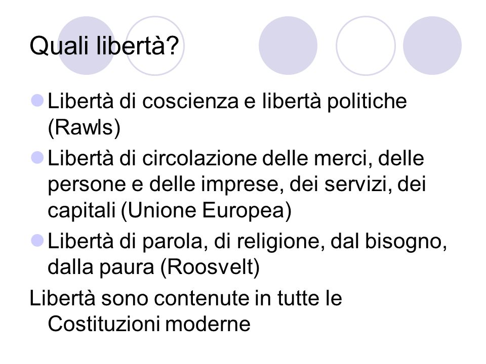 Quali libertà Libertà di coscienza e libertà politiche (Rawls)