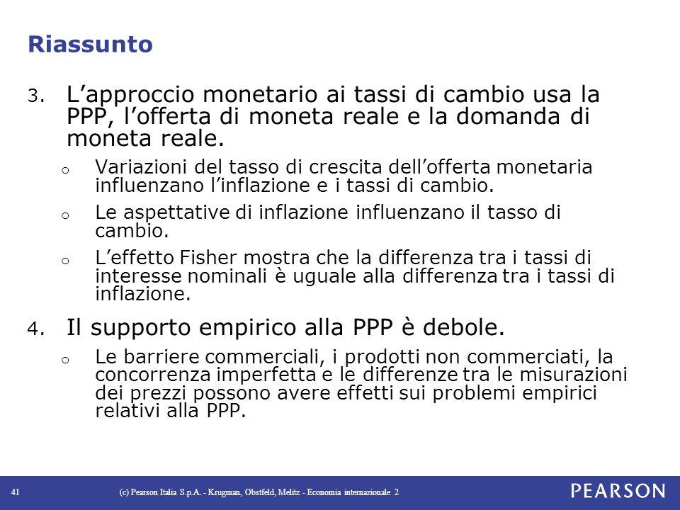 Il supporto empirico alla PPP è debole.