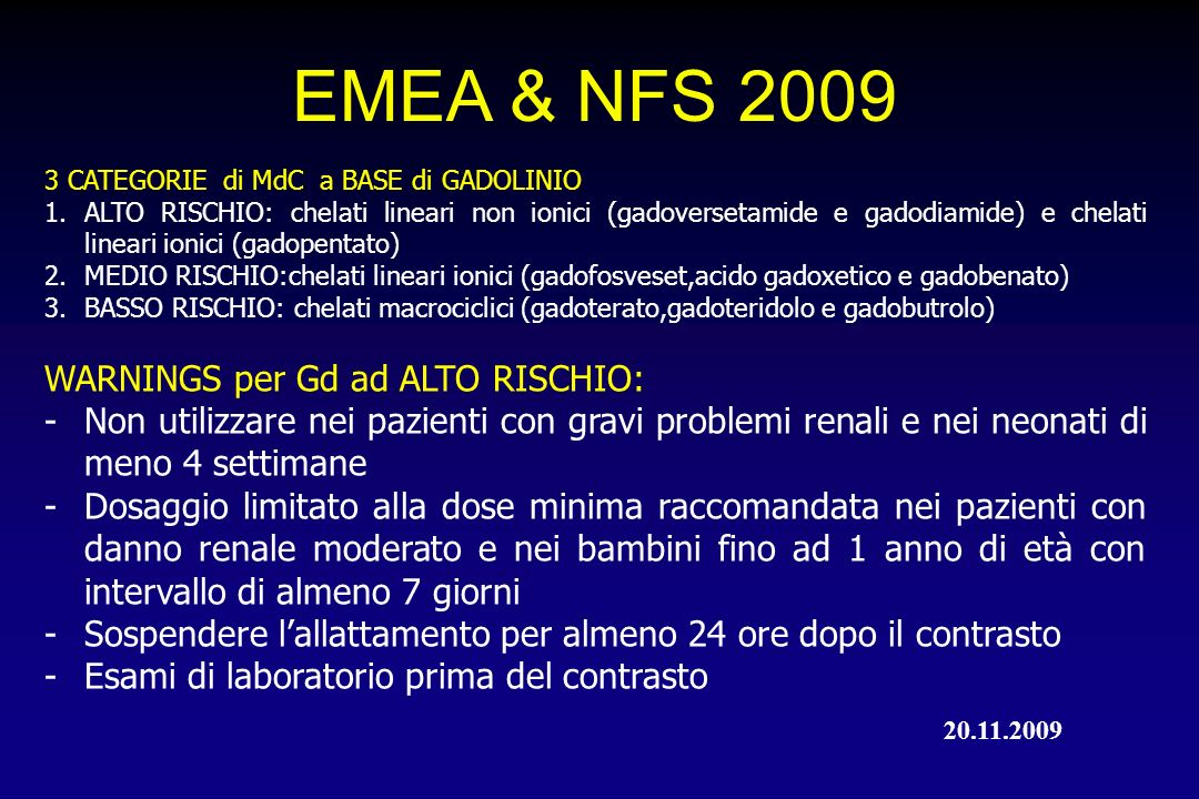 EMEA & NFS 2009 WARNINGS per Gd ad ALTO RISCHIO: