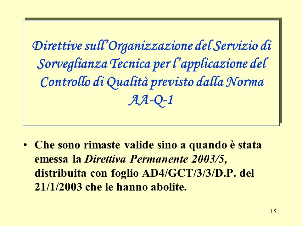 Direttive sull'Organizzazione del Servizio di Sorveglianza Tecnica per l'applicazione del Controllo di Qualità previsto dalla Norma AA-Q-1