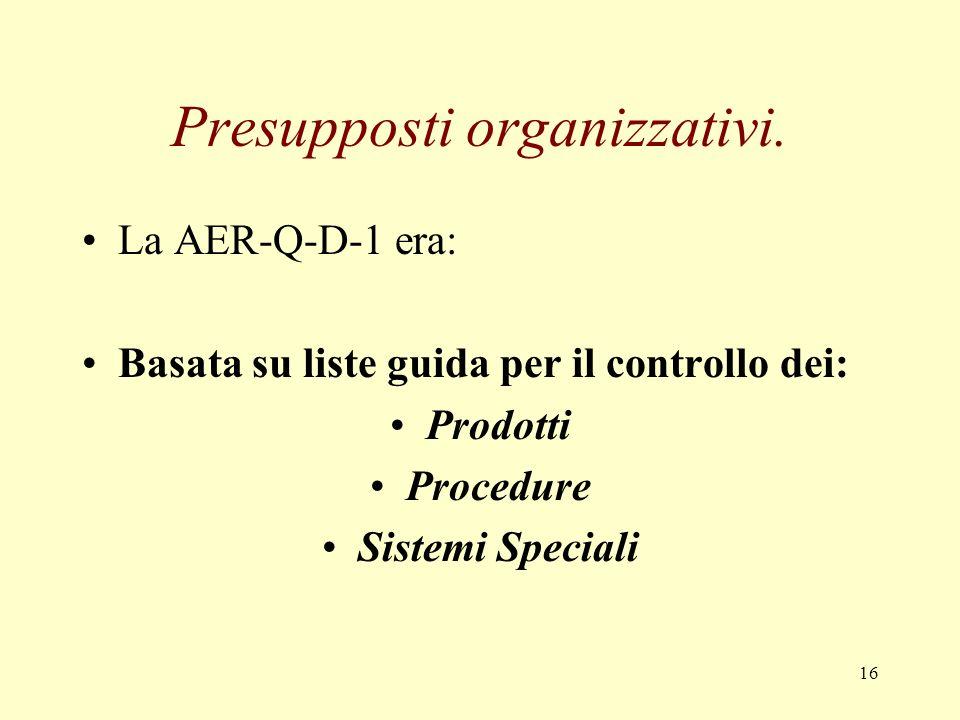 Presupposti organizzativi.