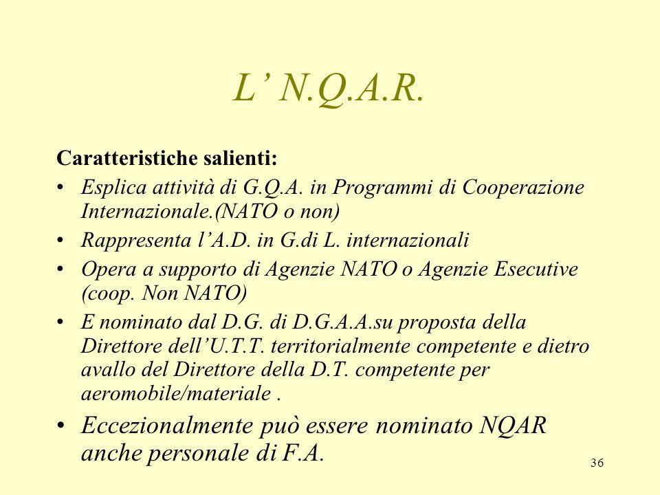 L' N.Q.A.R.Caratteristiche salienti: Esplica attività di G.Q.A. in Programmi di Cooperazione Internazionale.(NATO o non)