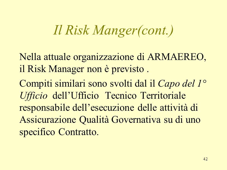Il Risk Manger(cont.) Nella attuale organizzazione di ARMAEREO, il Risk Manager non è previsto .
