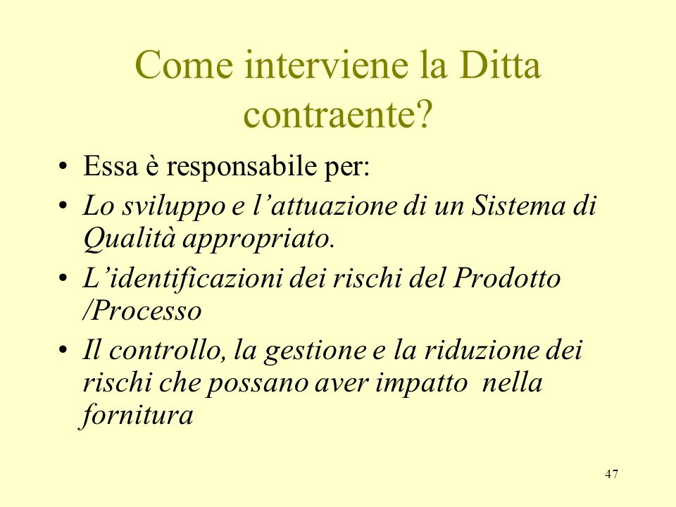Come interviene la Ditta contraente