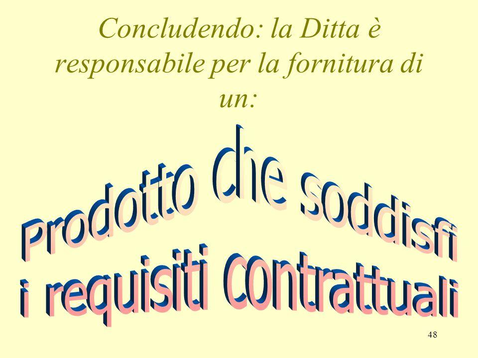 Concludendo: la Ditta è responsabile per la fornitura di un: