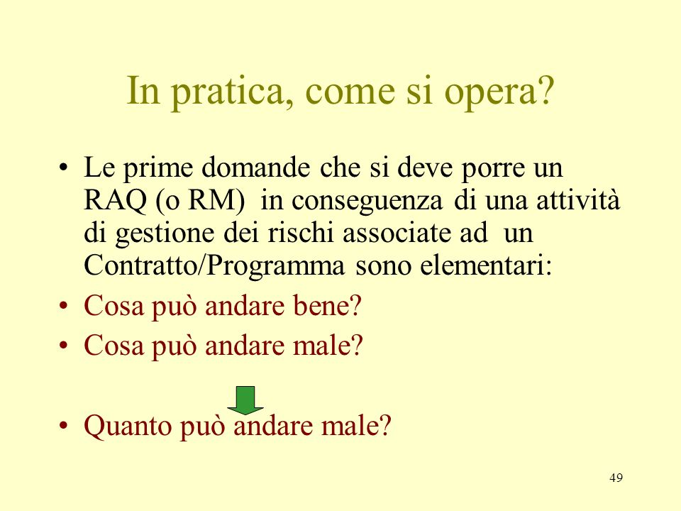 In pratica, come si opera