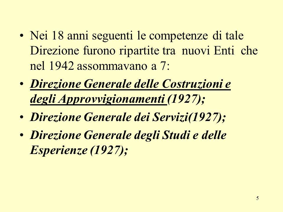 Nei 18 anni seguenti le competenze di tale Direzione furono ripartite tra nuovi Enti che nel 1942 assommavano a 7: