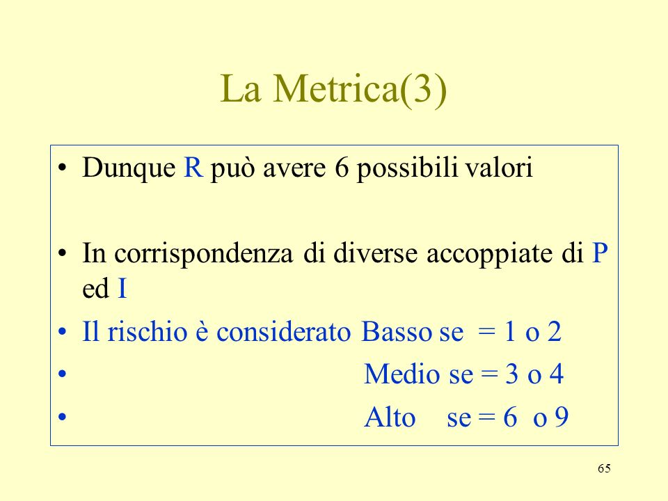 La Metrica(3) Dunque R può avere 6 possibili valori
