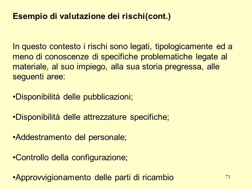 Esempio di valutazione dei rischi(cont.)