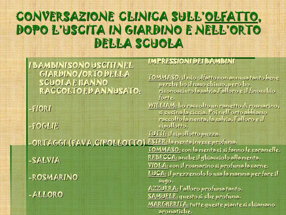 CONVERSAZIONE CLINICA SULL'OLFATTO, DOPO L'USCITA IN GIARDINO E NELL'ORTO DELLA SCUOLA