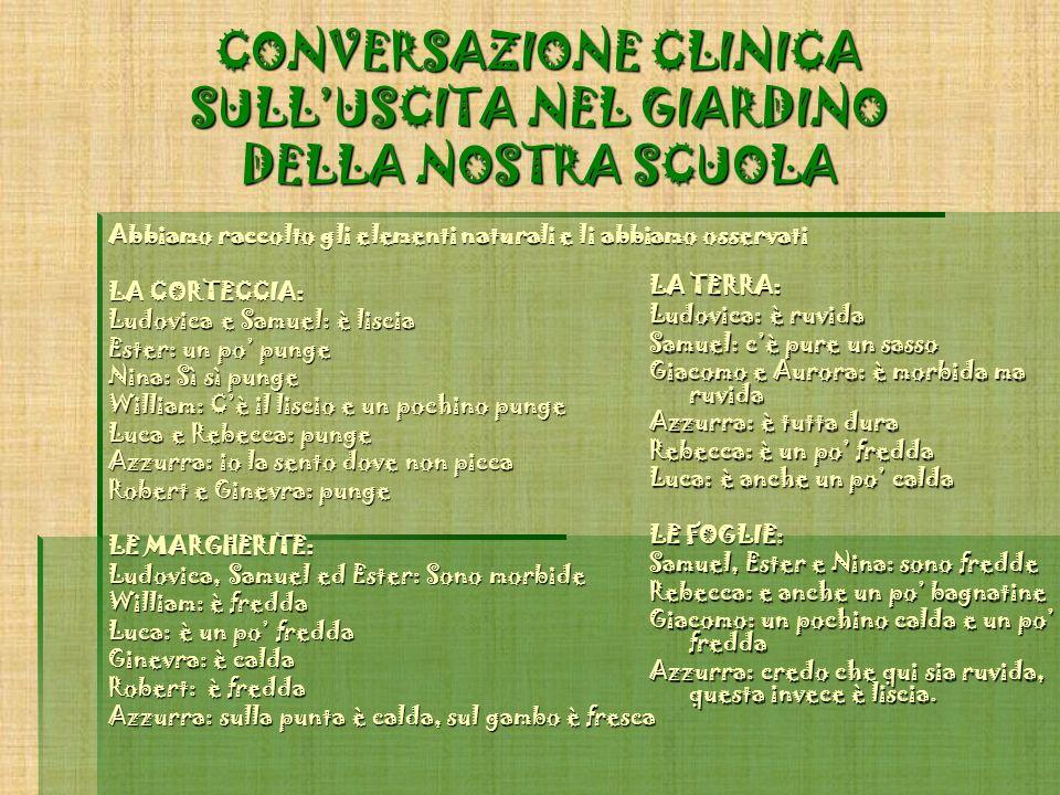 CONVERSAZIONE CLINICA SULL'USCITA NEL GIARDINO DELLA NOSTRA SCUOLA