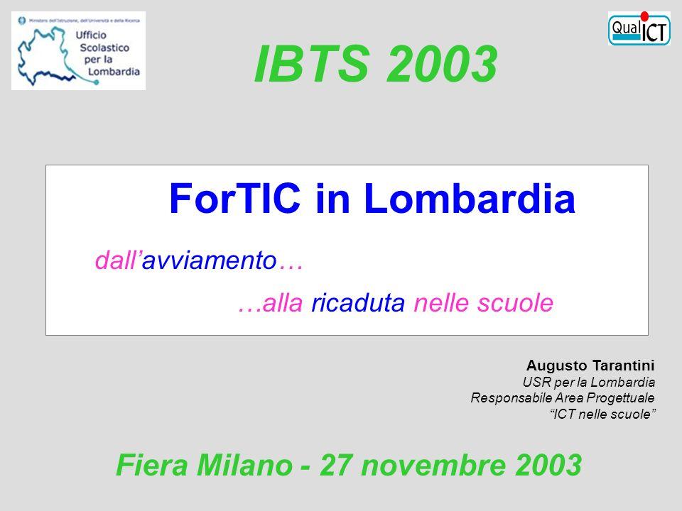 ForTIC in Lombardia dall'avviamento… …alla ricaduta nelle scuole