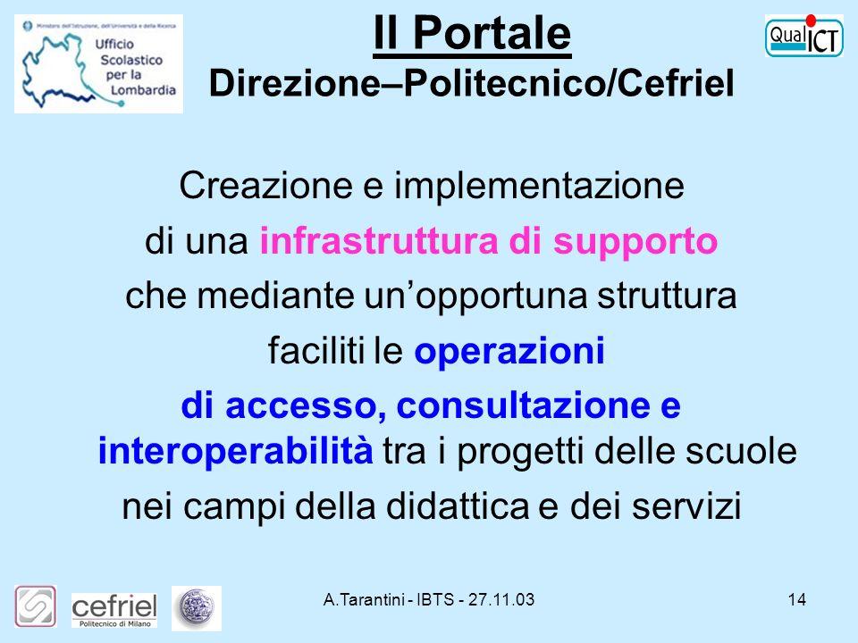 Il Portale Direzione–Politecnico/Cefriel