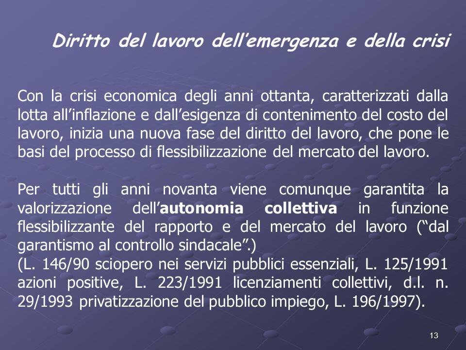 Diritto del lavoro dell'emergenza e della crisi
