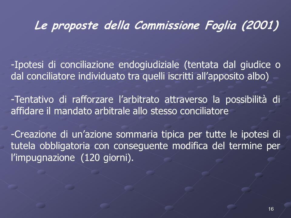 Le proposte della Commissione Foglia (2001)