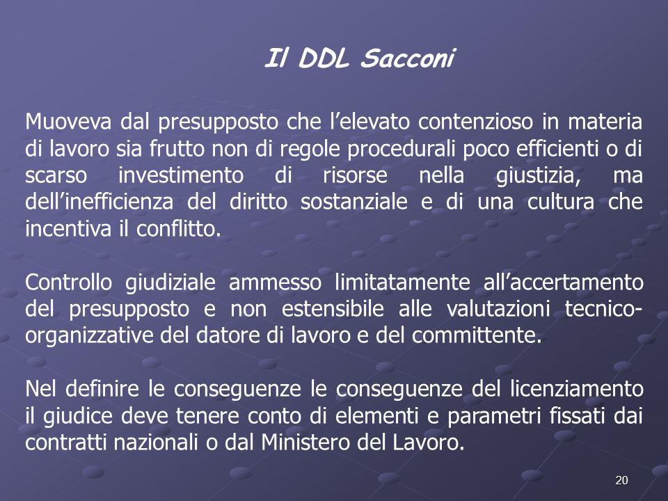 Il DDL Sacconi
