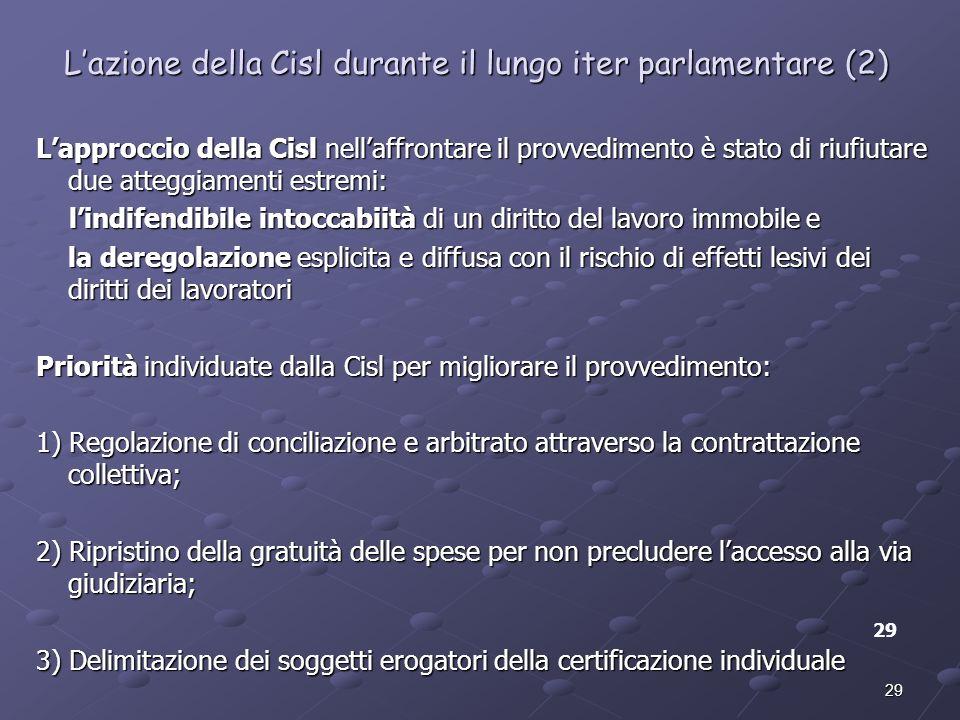 L'azione della Cisl durante il lungo iter parlamentare (2)