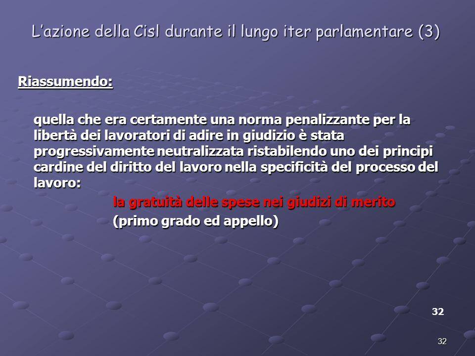 L'azione della Cisl durante il lungo iter parlamentare (3)