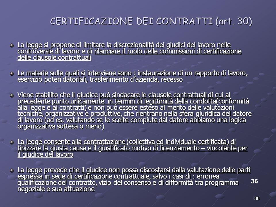 CERTIFICAZIONE DEI CONTRATTI (art. 30)