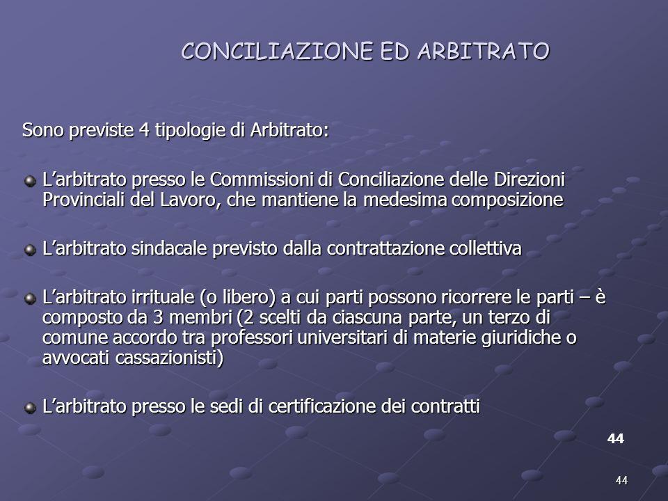CONCILIAZIONE ED ARBITRATO