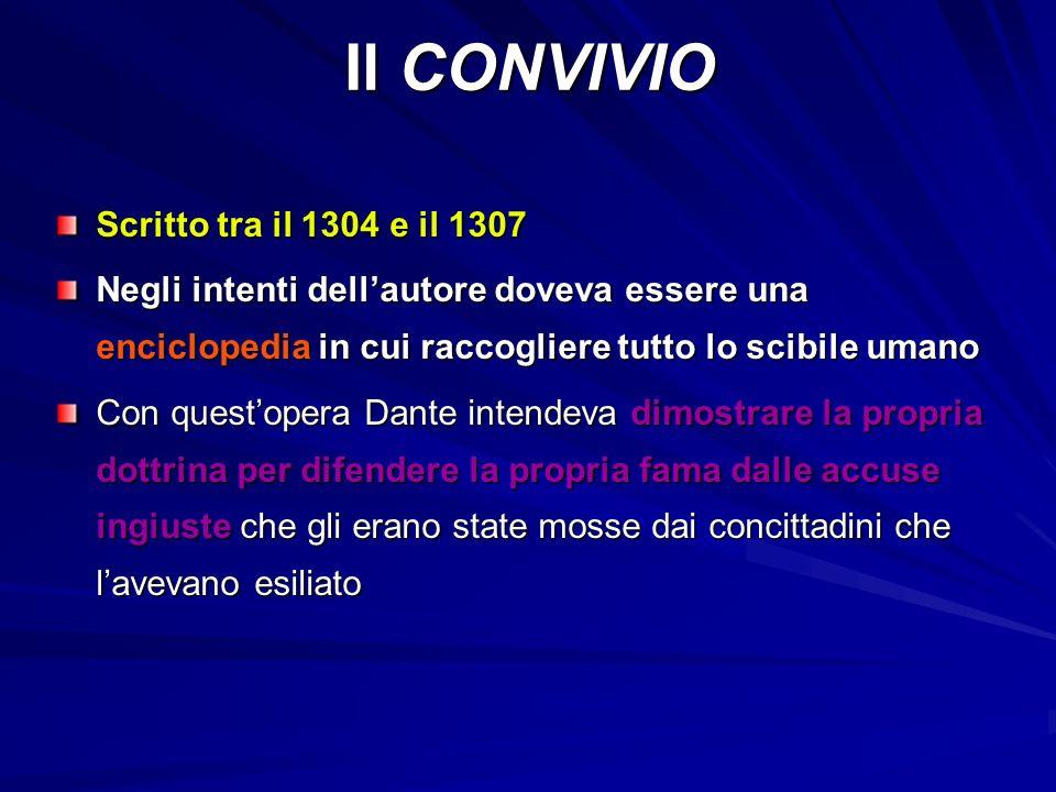 Il CONVIVIO Scritto tra il 1304 e il 1307