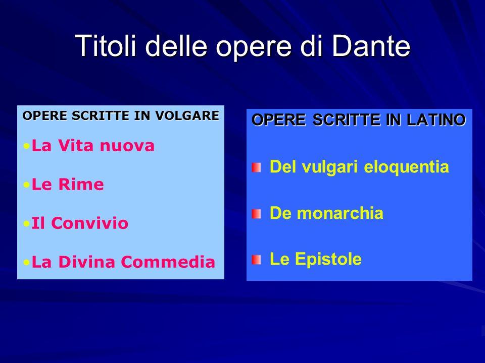 Titoli delle opere di Dante