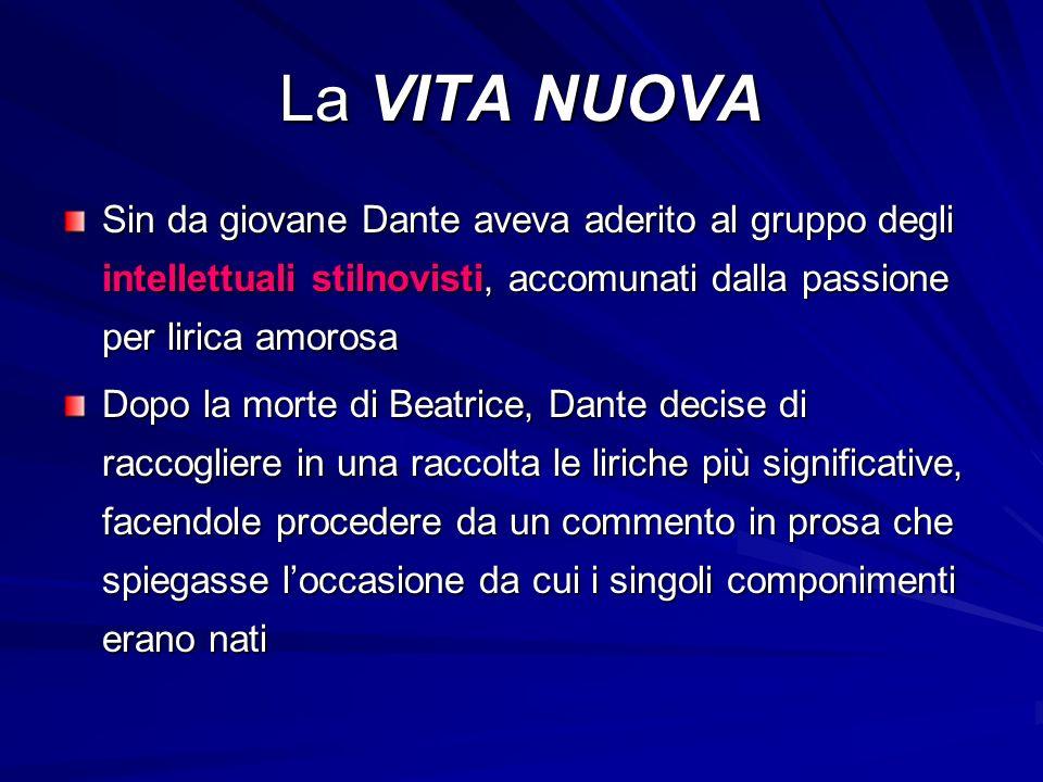La VITA NUOVA Sin da giovane Dante aveva aderito al gruppo degli intellettuali stilnovisti, accomunati dalla passione per lirica amorosa.