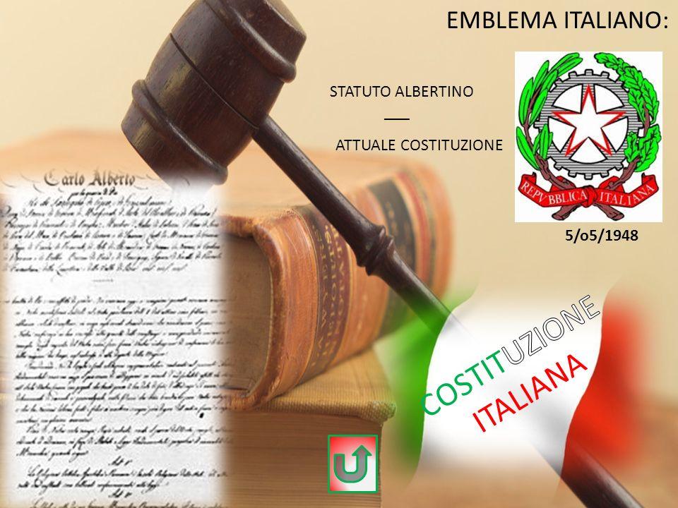 COSTITUZIONE ITALIANA EMBLEMA ITALIANO: STATUTO ALBERTINO ___