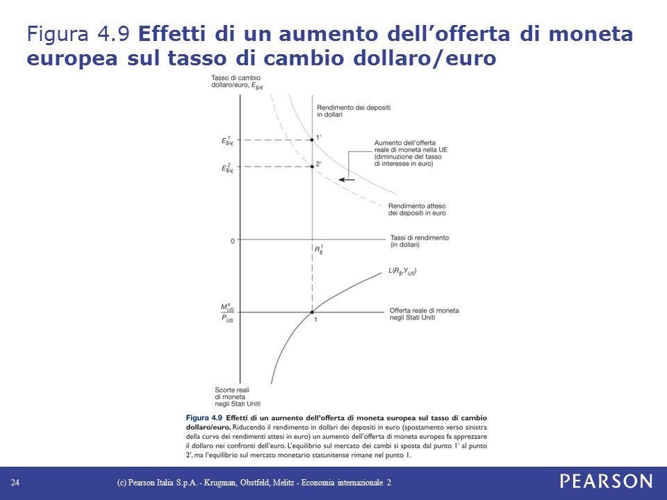 Figura 4.9 Effetti di un aumento dell'offerta di moneta europea sul tasso di cambio dollaro/euro