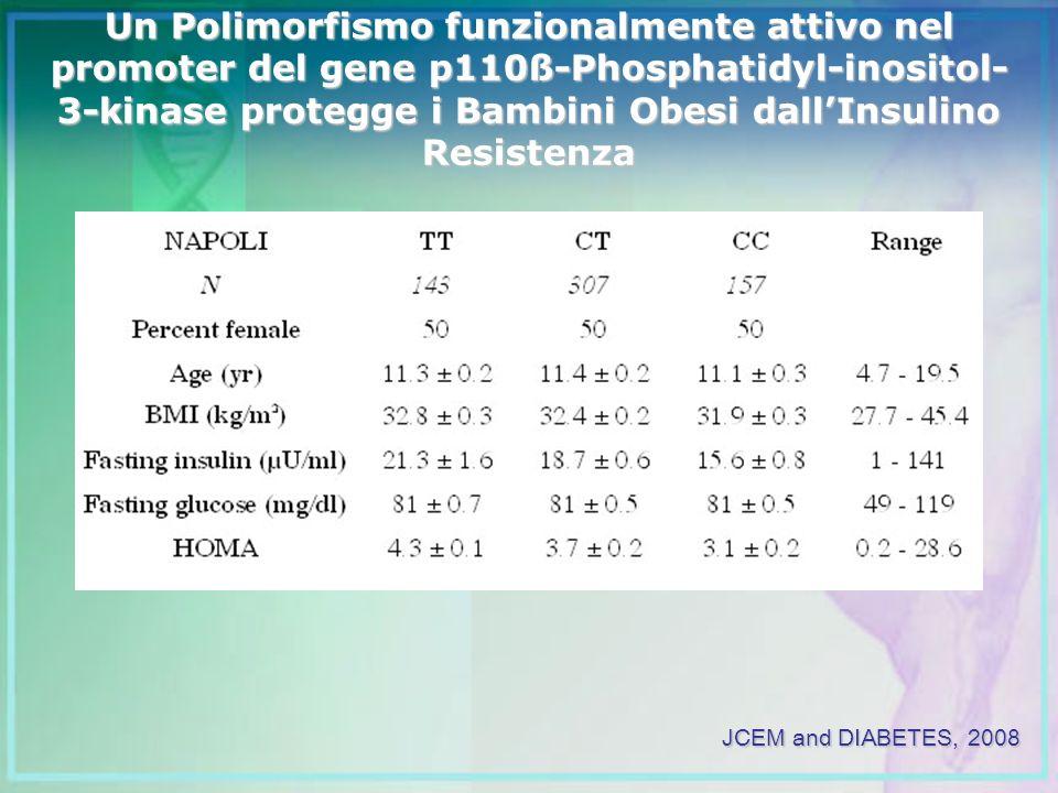Un Polimorfismo funzionalmente attivo nel promoter del gene p110ß-Phosphatidyl-inositol-3-kinase protegge i Bambini Obesi dall'Insulino Resistenza