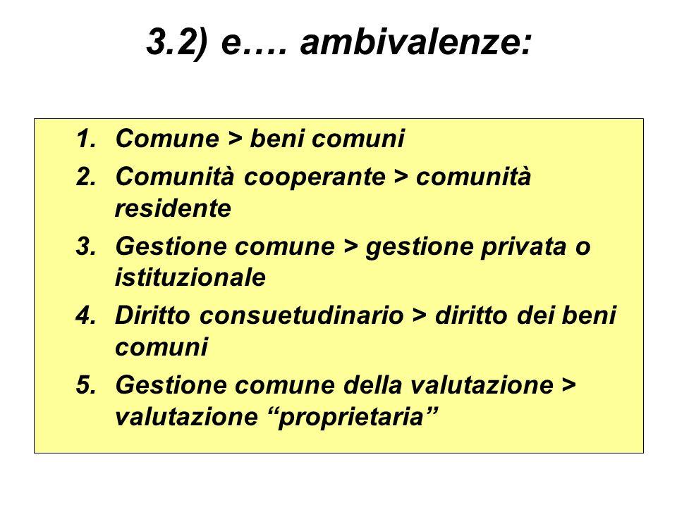 3.2) e…. ambivalenze: Comune > beni comuni