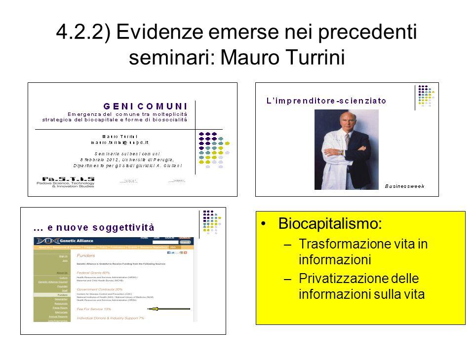 4.2.2) Evidenze emerse nei precedenti seminari: Mauro Turrini