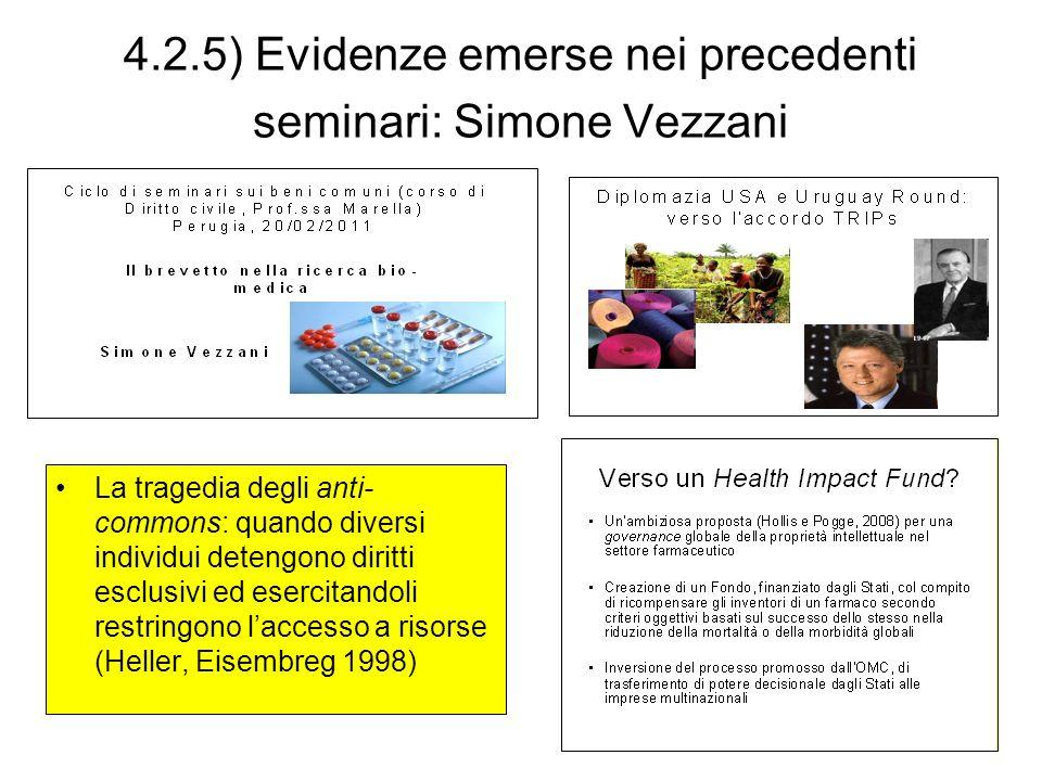 4.2.5) Evidenze emerse nei precedenti seminari: Simone Vezzani