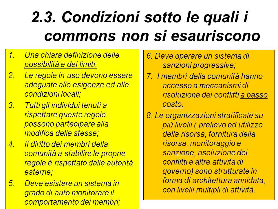 2.3. Condizioni sotto le quali i commons non si esauriscono