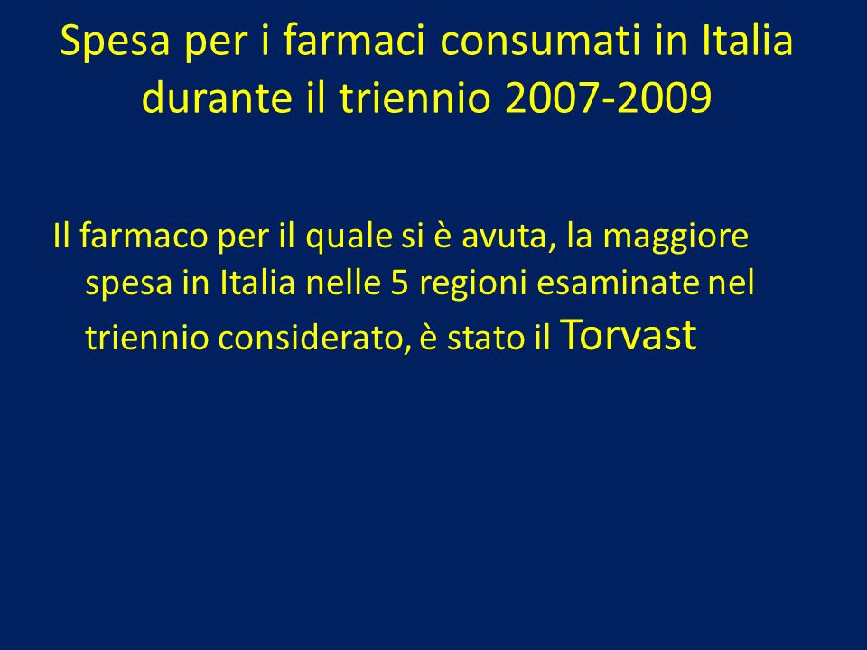 Spesa per i farmaci consumati in Italia durante il triennio 2007-2009
