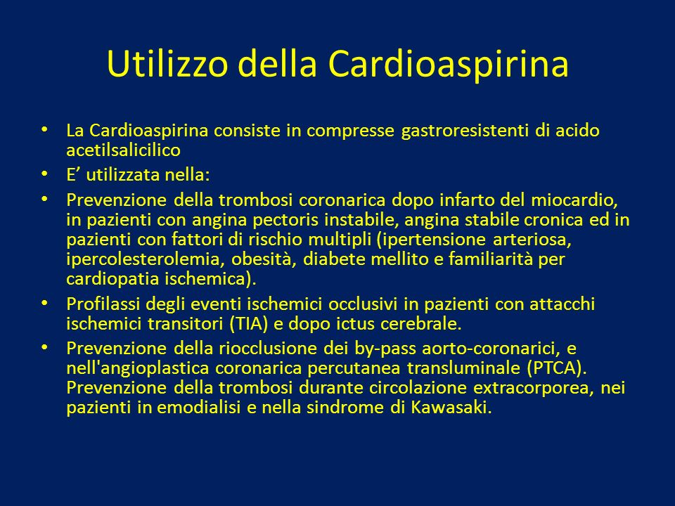 Utilizzo della Cardioaspirina