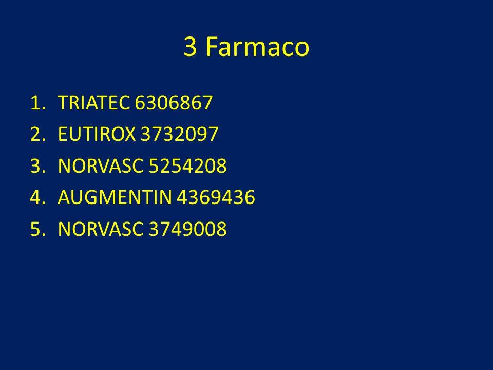 3 Farmaco TRIATEC 6306867 EUTIROX 3732097 NORVASC 5254208