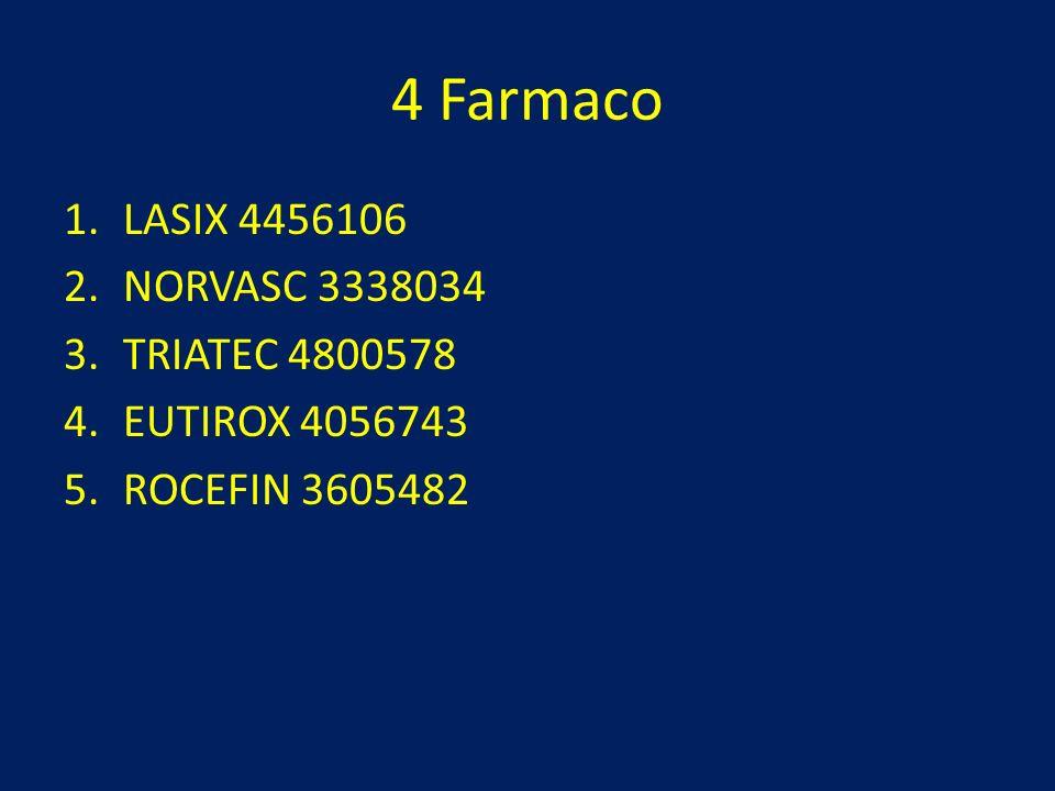 4 Farmaco LASIX 4456106 NORVASC 3338034 TRIATEC 4800578