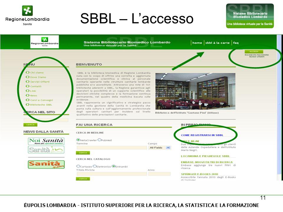 SBBL – L'accesso ÉUPOLIS LOMBARDIA - ISTITUTO SUPERIORE PER LA RICERCA, LA STATISTICA E LA FORMAZIONE.