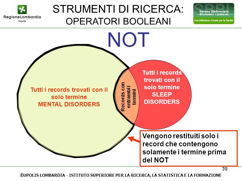NOT STRUMENTI DI RICERCA: OPERATORI BOOLEANI