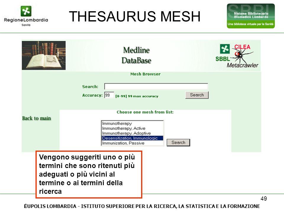 THESAURUS MESH Vengono suggeriti uno o più termini che sono ritenuti più adeguati o più vicini al termine o ai termini della ricerca.
