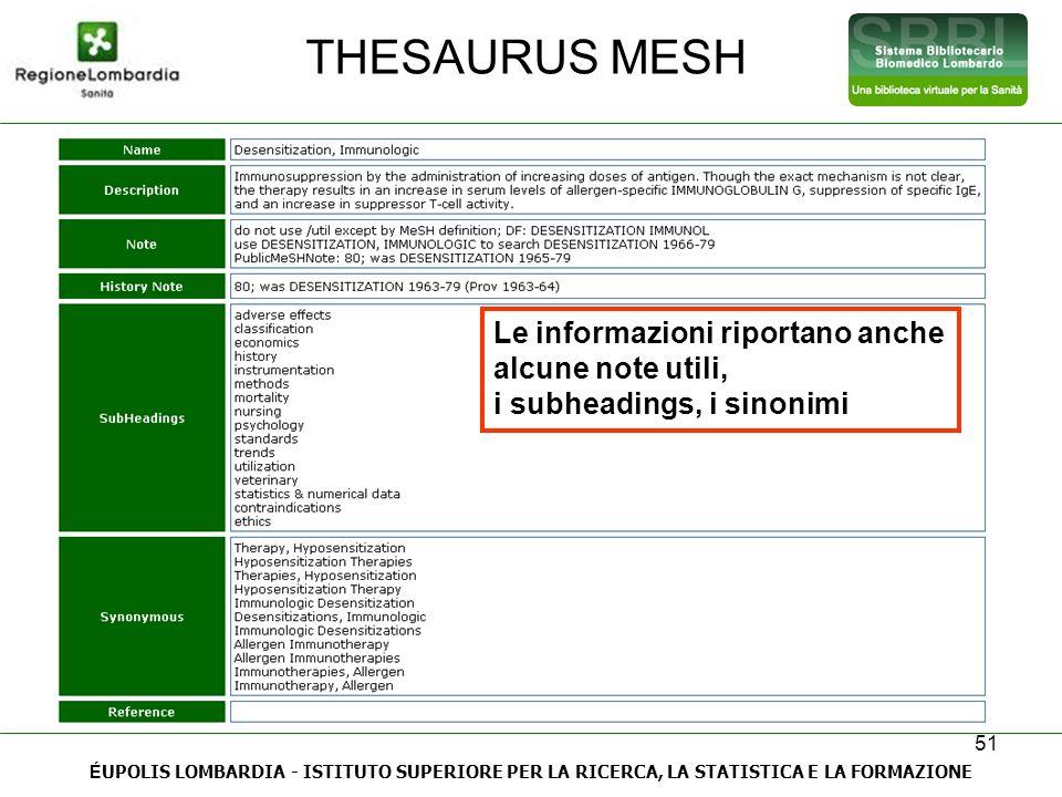 THESAURUS MESH Le informazioni riportano anche alcune note utili,