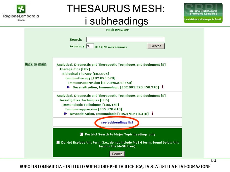 THESAURUS MESH: i subheadings