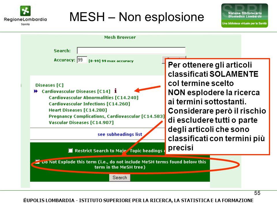 MESH – Non esplosione Per ottenere gli articoli classificati SOLAMENTE col termine scelto.