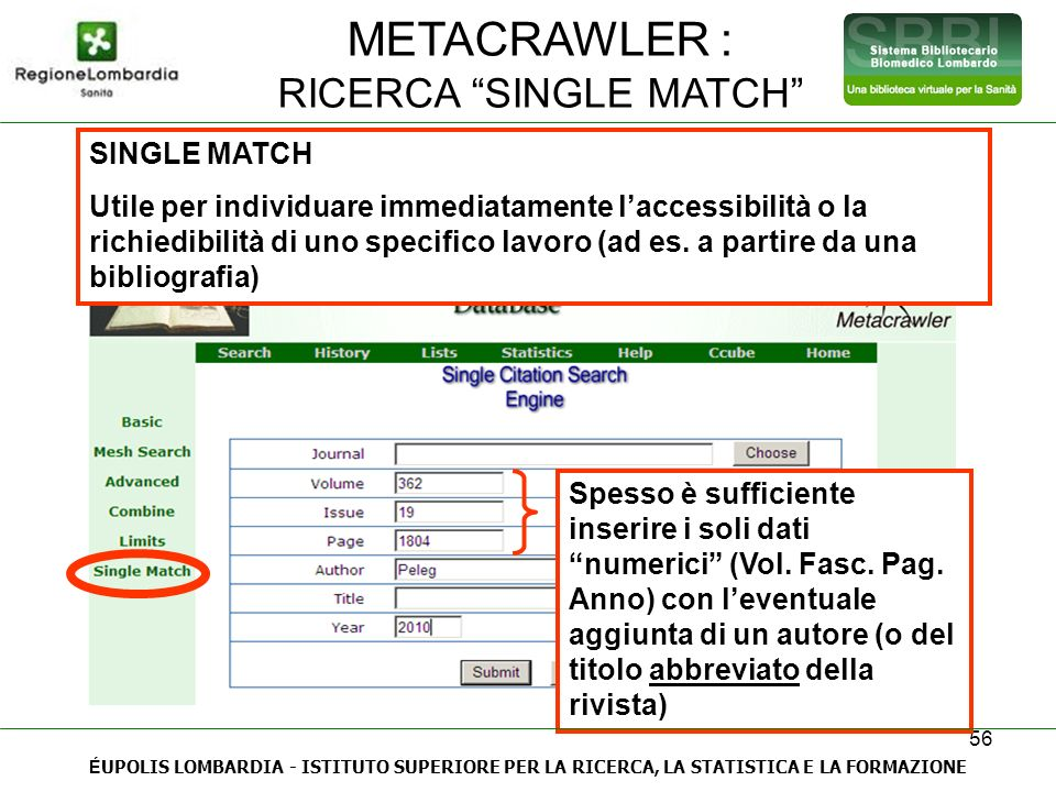 RICERCA SINGLE MATCH
