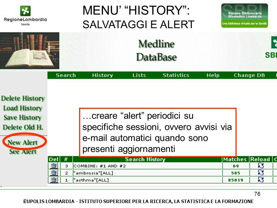 MENU' HISTORY : SALVATAGGI E ALERT