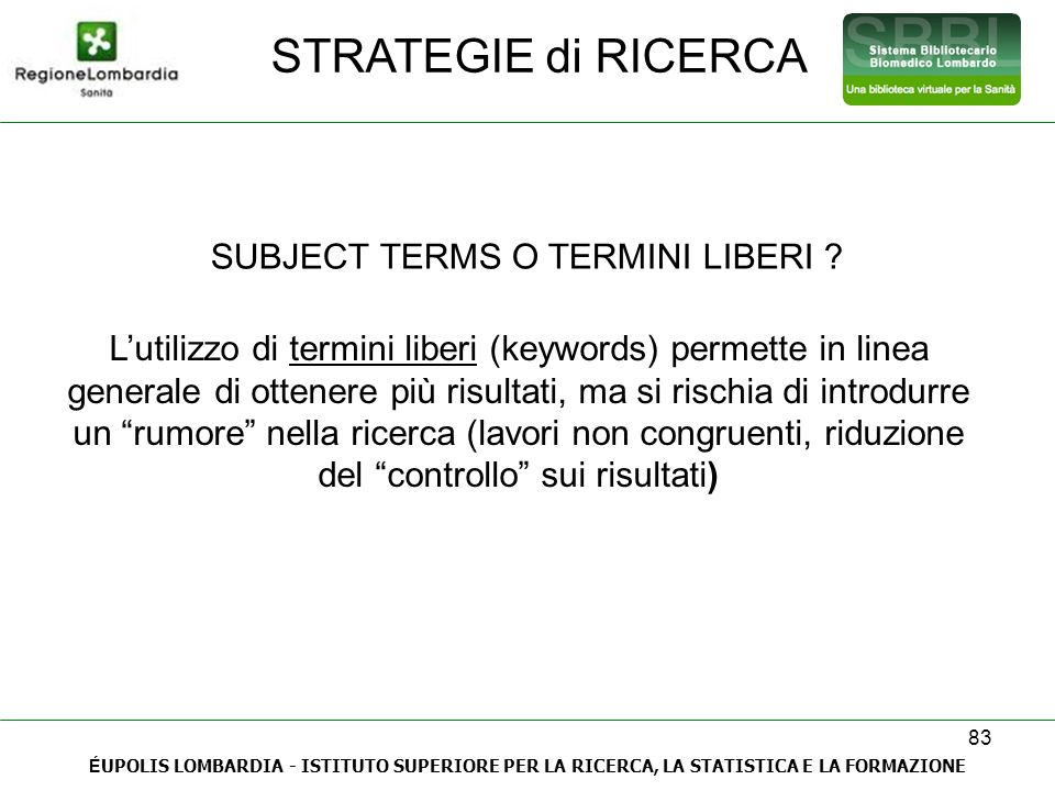 SUBJECT TERMS O TERMINI LIBERI