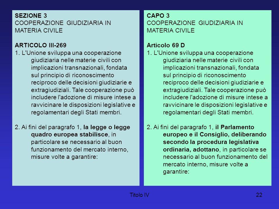 COOPERAZIONE GIUDIZIARIA IN MATERIA CIVILE ARTICOLO III-269